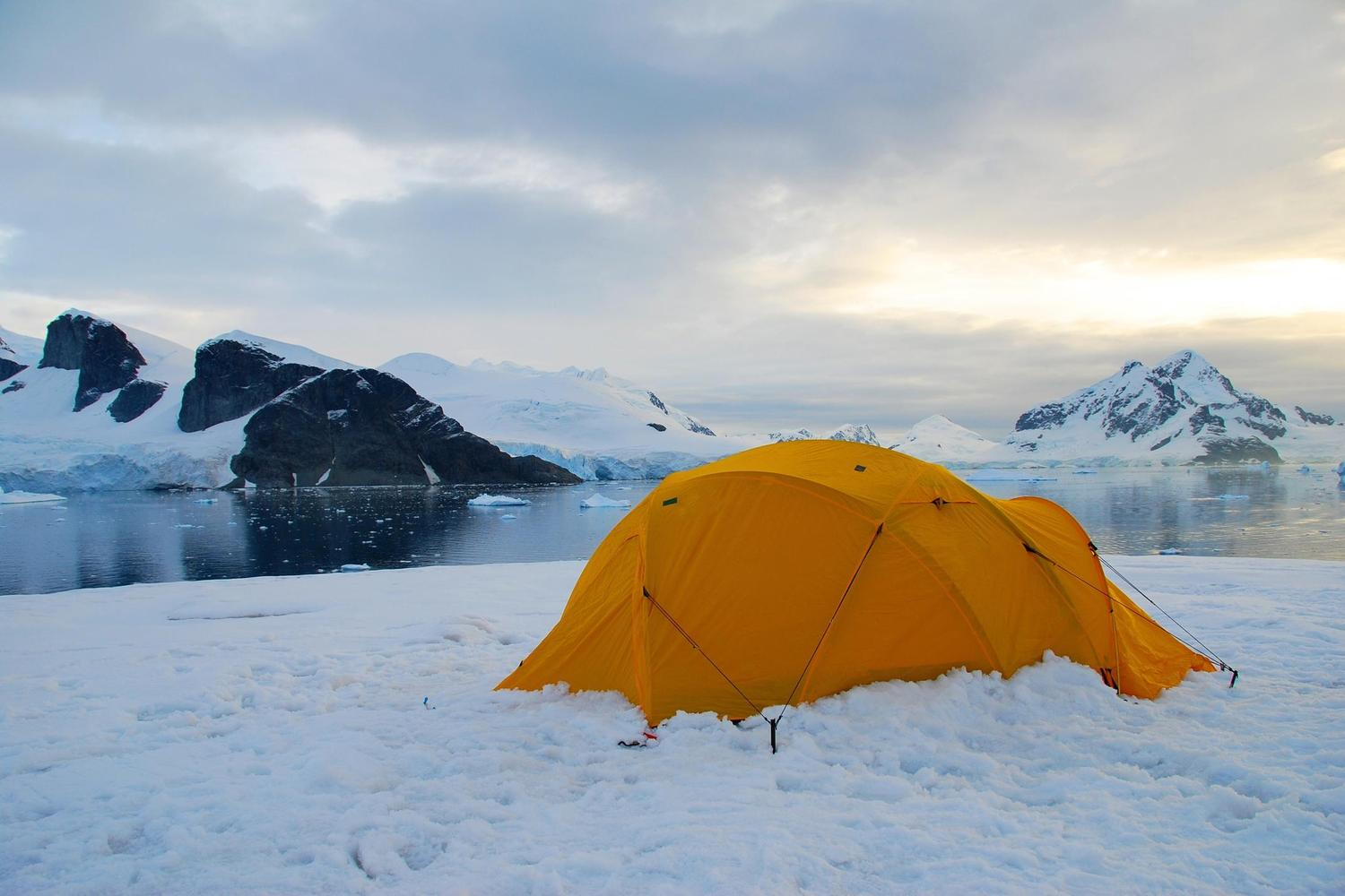 Camping out on the Antarctic Peninsula is possible in the summer months, though it never really gets dark!
