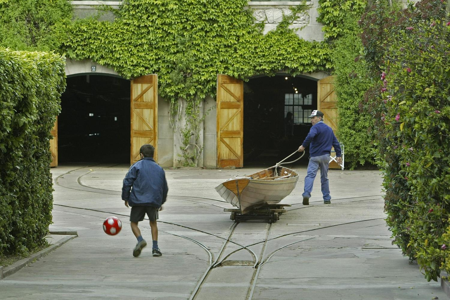 Boy playing football in Buenos Aires