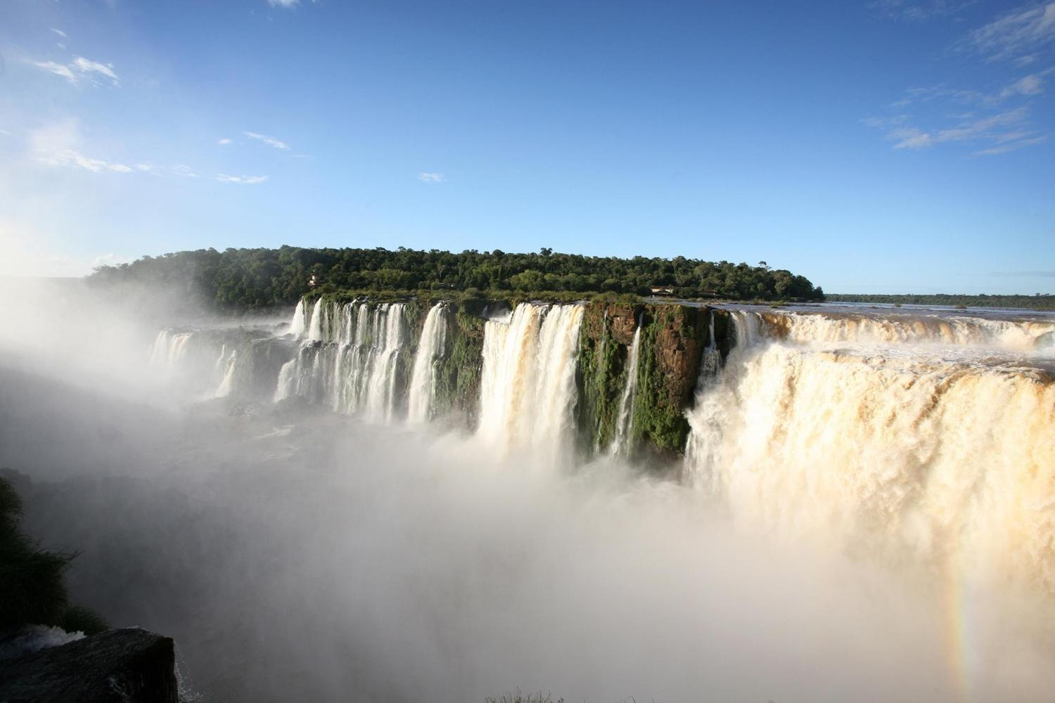 Mists rising off the Argentine side of the Iguassu Falls