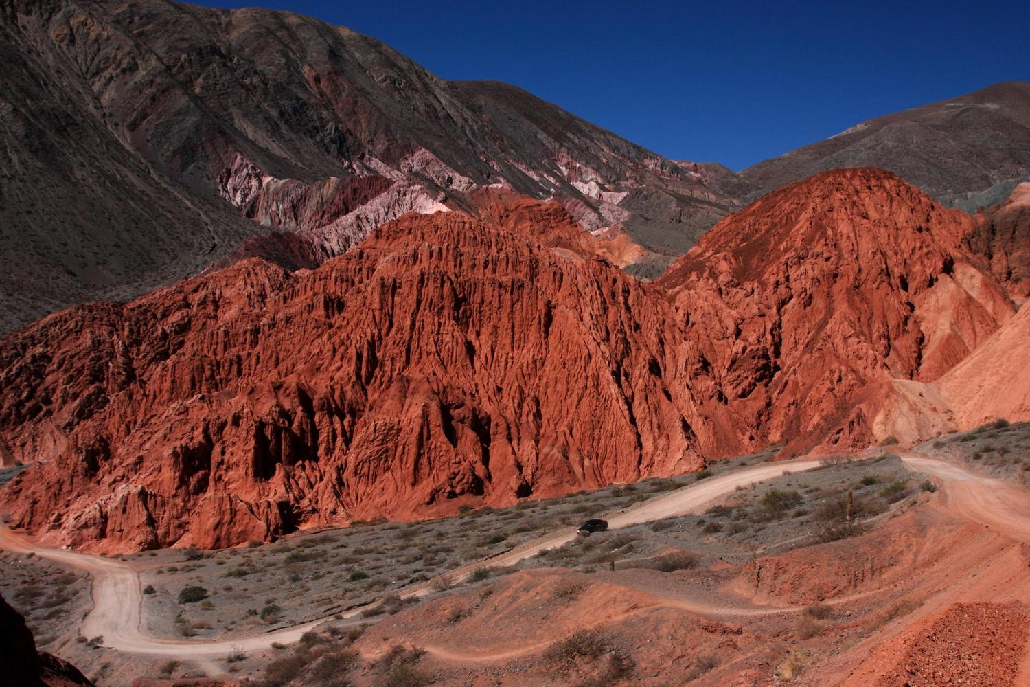 The road through the Quebrada de Humahuaca near Purmamarca