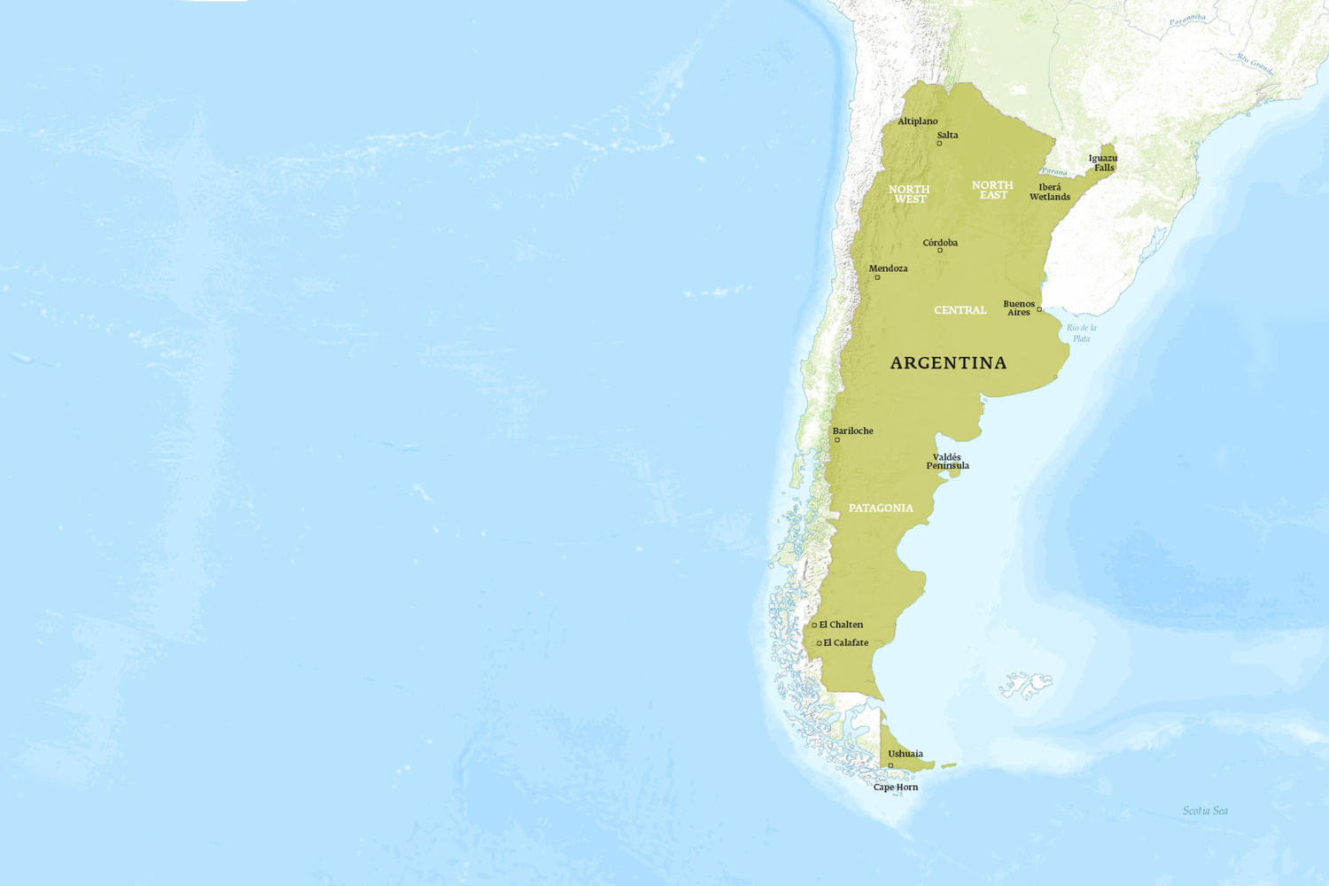 Argentina Tours Holidays Tour Argentina Pura Aventura - Argentina highlights map