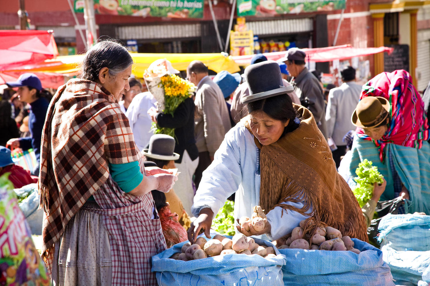 Women at one of La Paz's many street markets