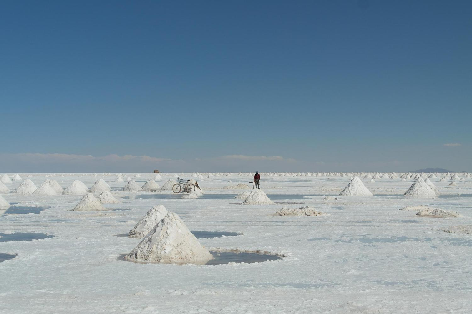 Back breaking work on the Uyuni Salt Flats