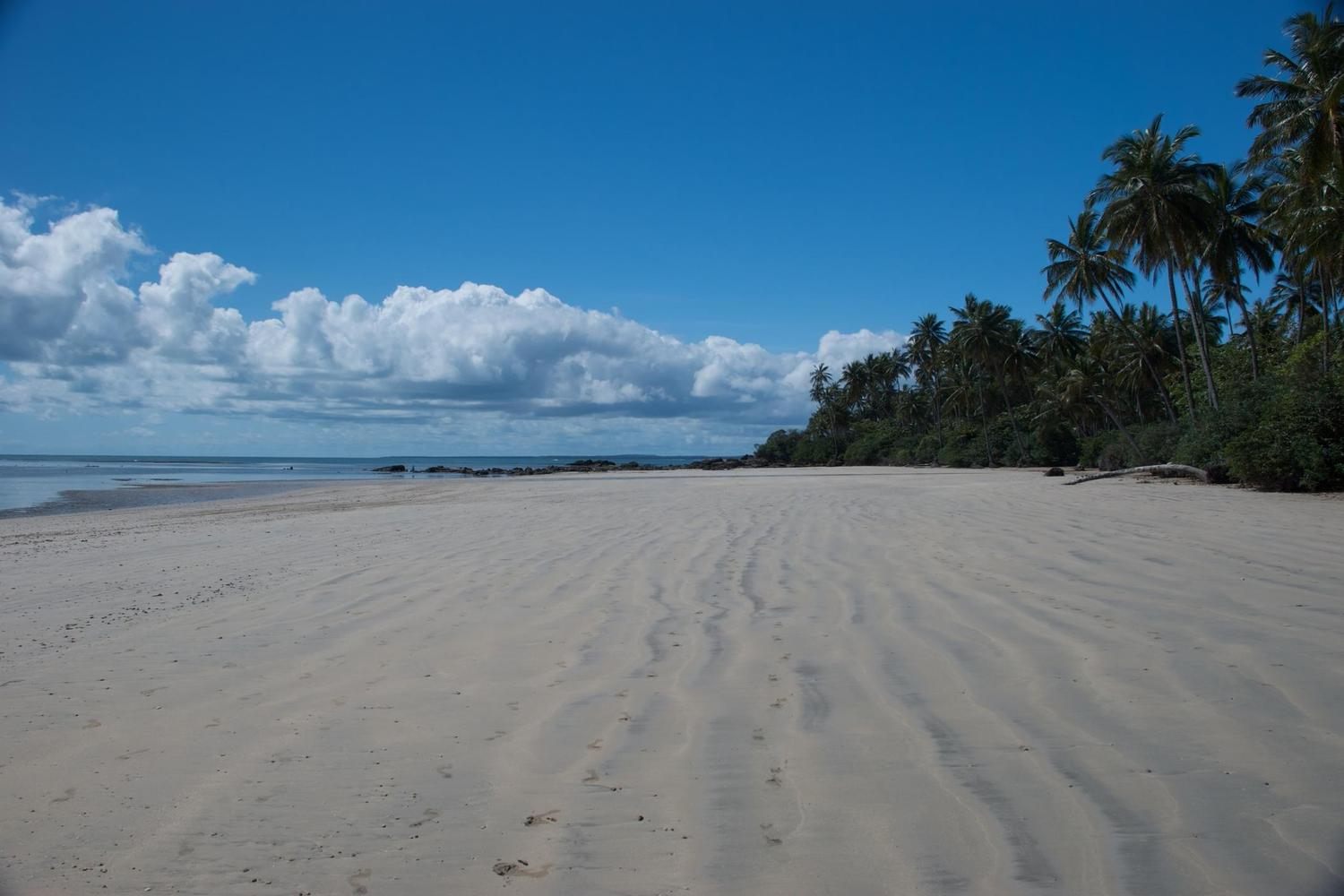 Enormous, empty beaches of Boipeba Island in Bahia