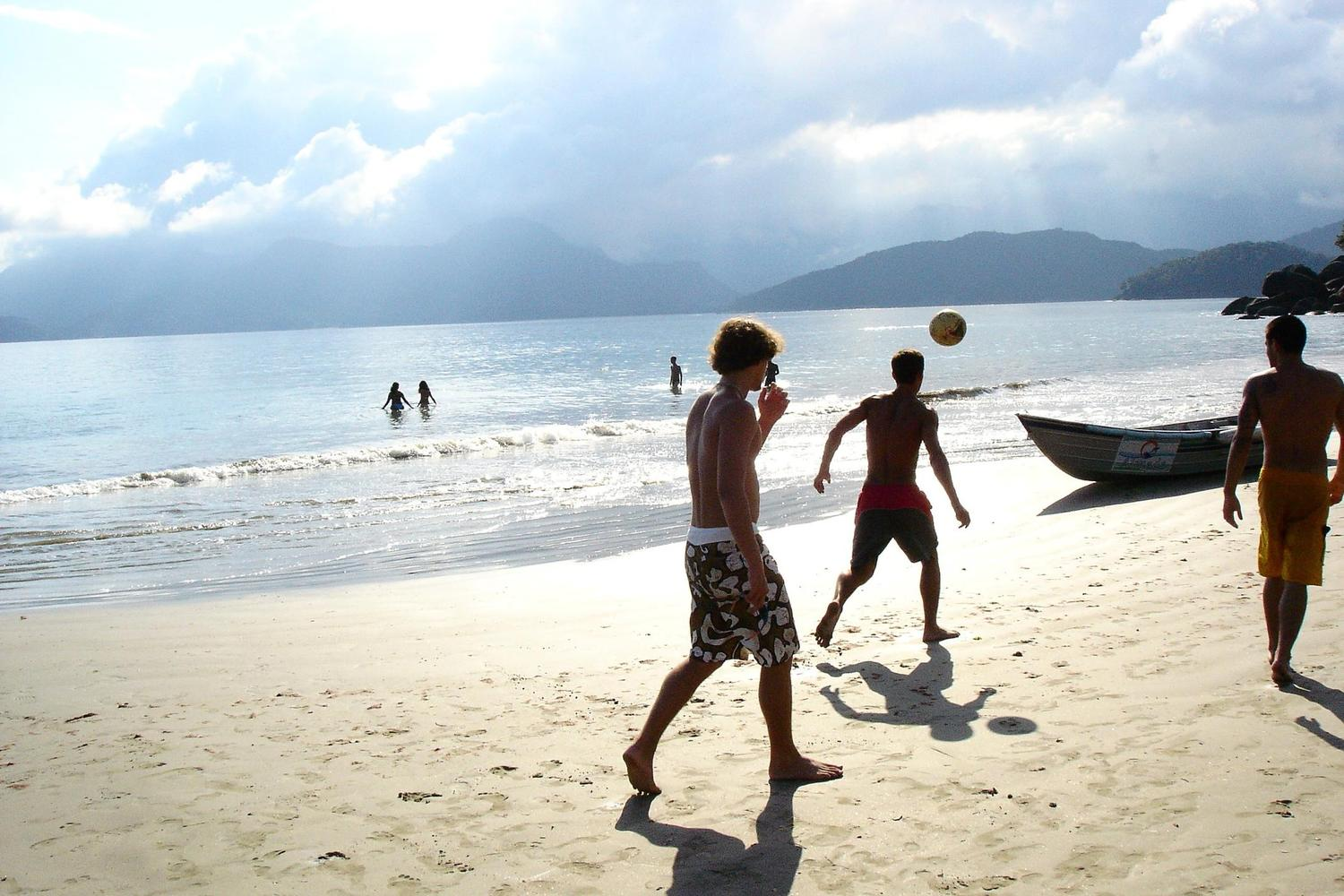 Beach football game at Paraty