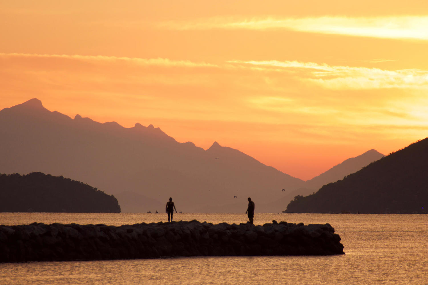 Beautiful sunrise over the pier in Paraty