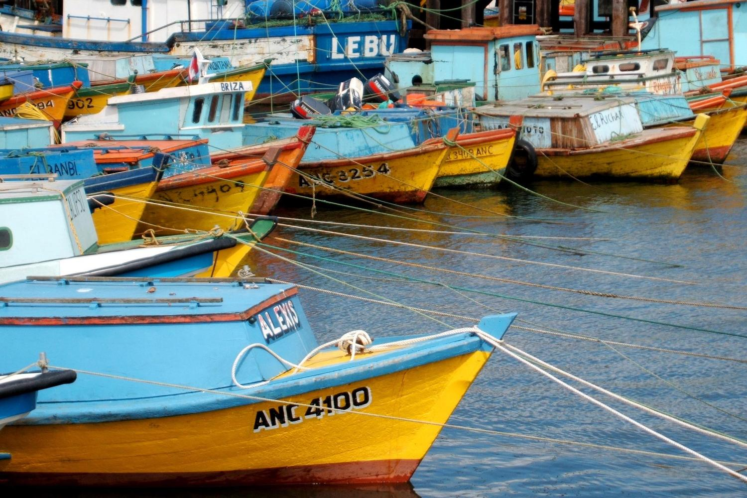 Fishing boats moored up in Ancud, Chiloe Grande
