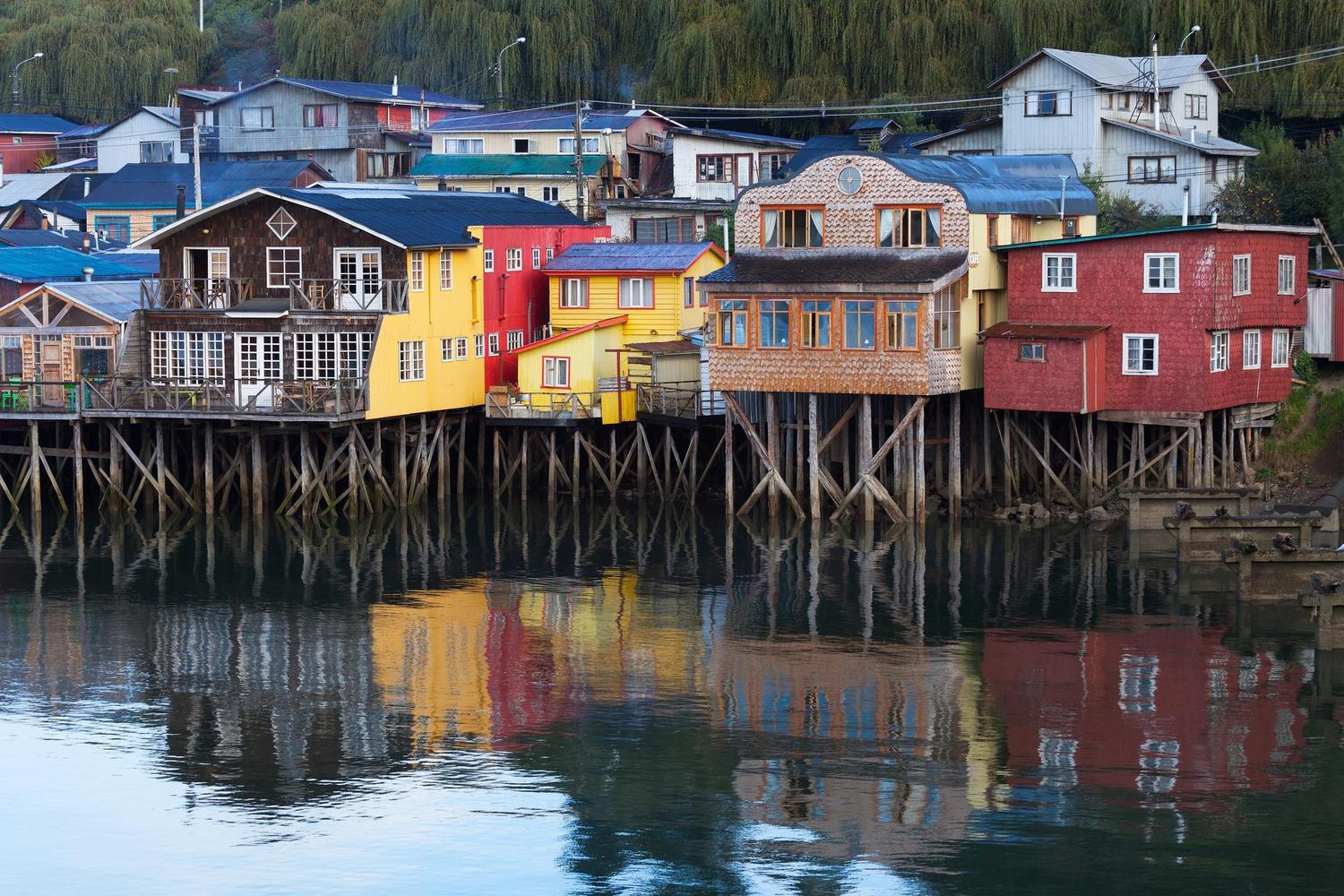 Palofito houses on the island of Chiloe Grande