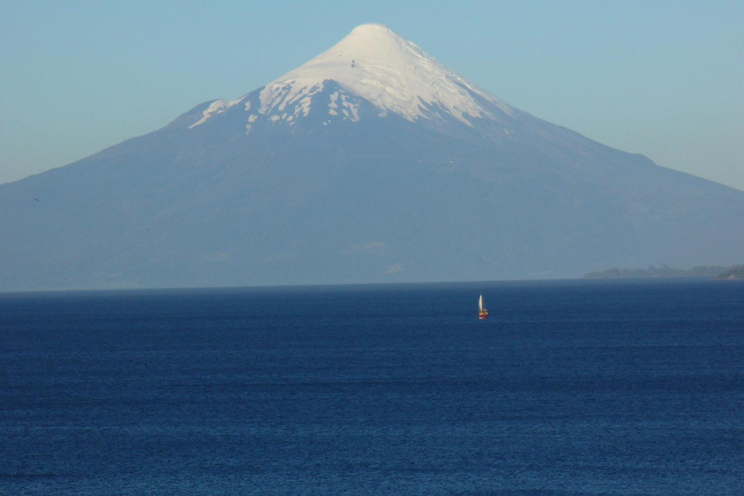 The snowy peak of Osorno Volcano over Lake Llanquihue