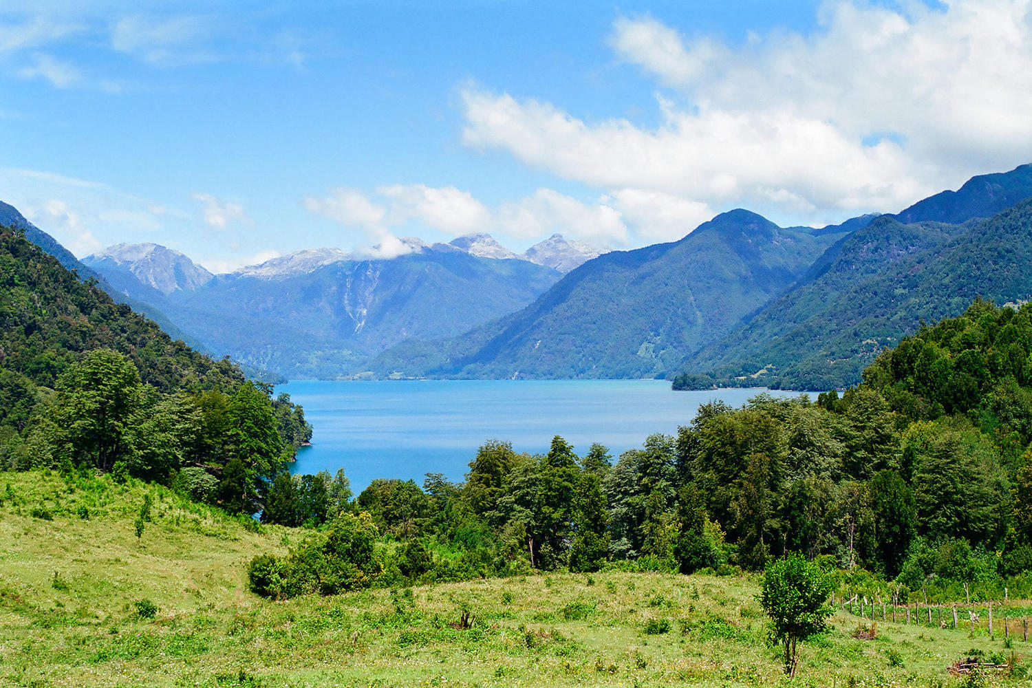 Beautiful blue waters of Lago Todos los Santos in southern Chile