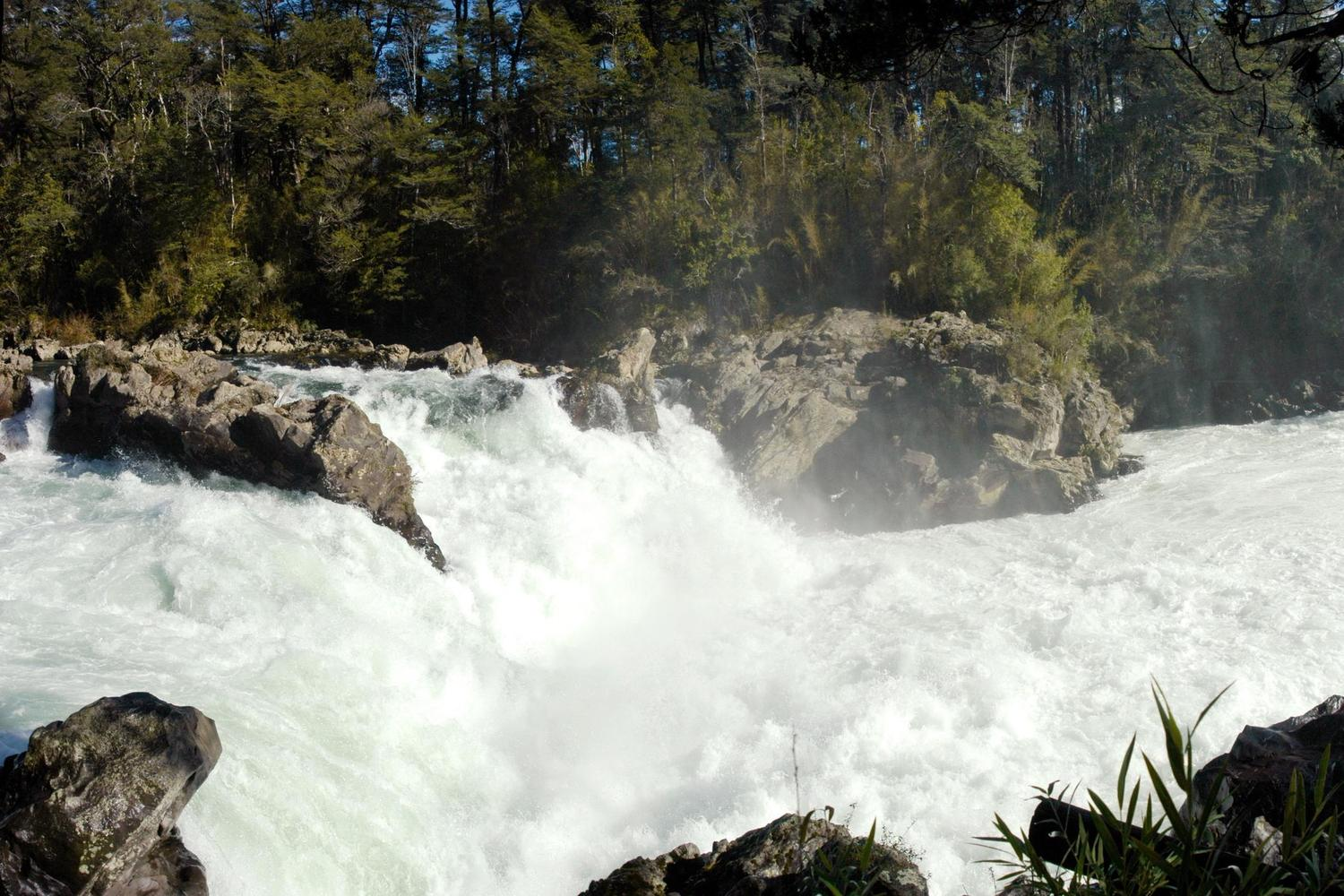 The white waters of the Trancura River, Chile