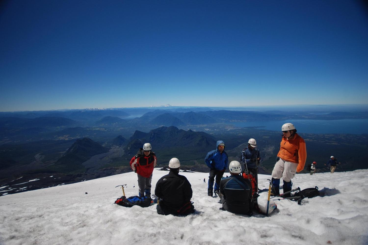 Sitting at the top of Villarica Volcano, Pucón