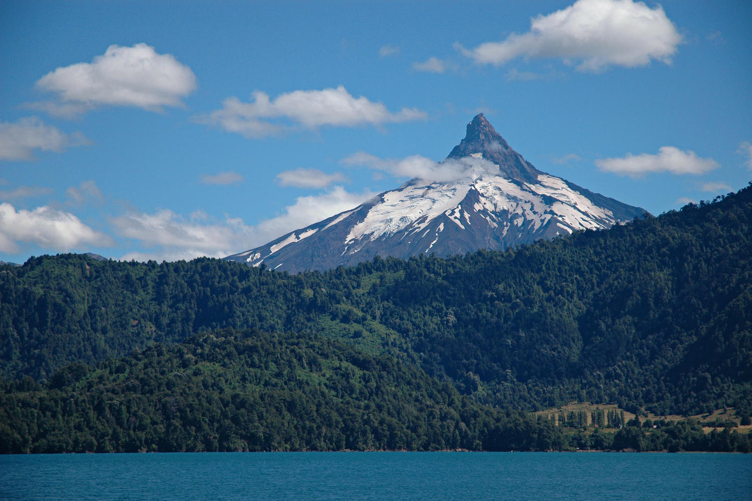 A rare still, clear day over Puntiagudo Volcano in the Chilean Lakes