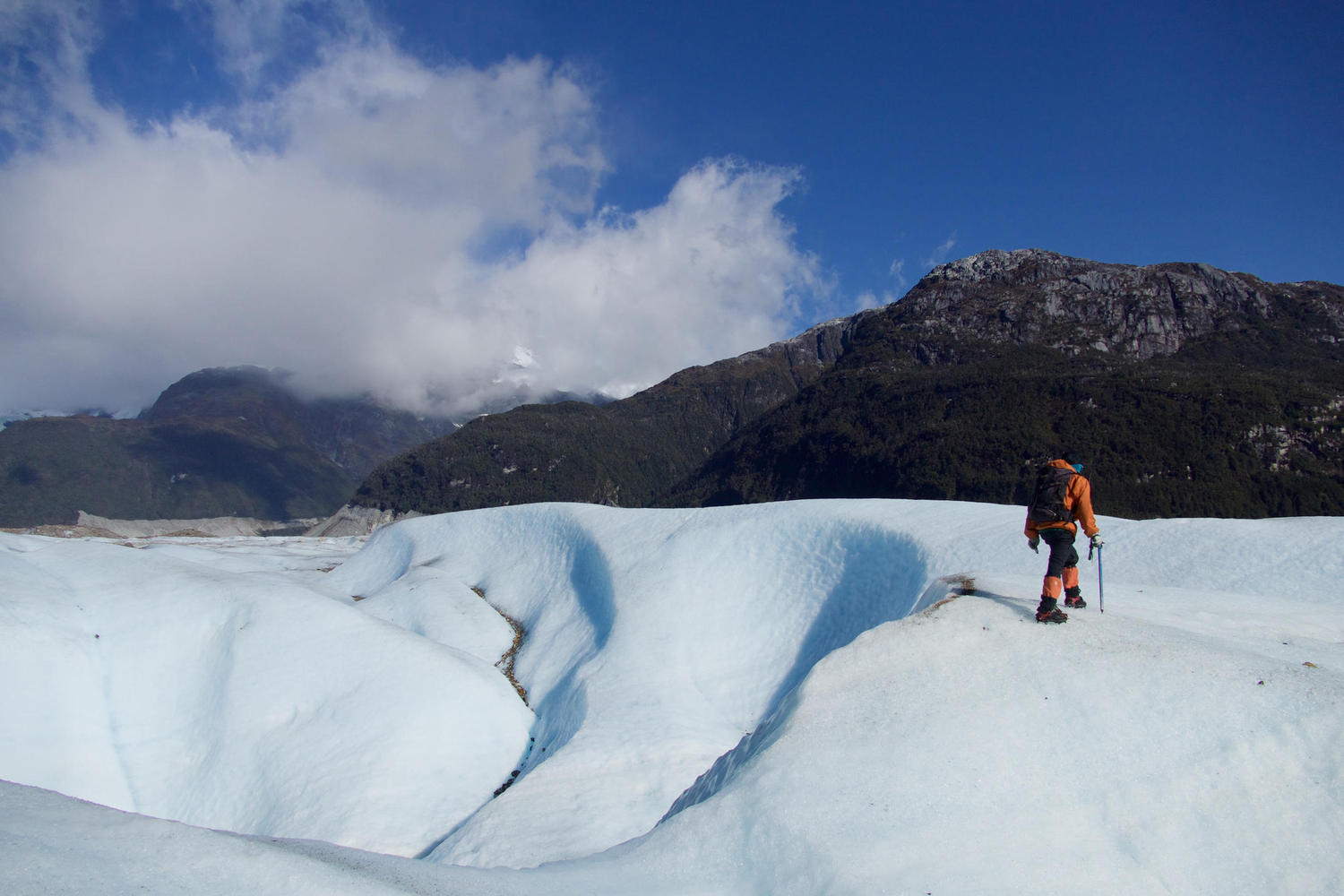 Guide leading the way on the Exploradores Glacier in Chile