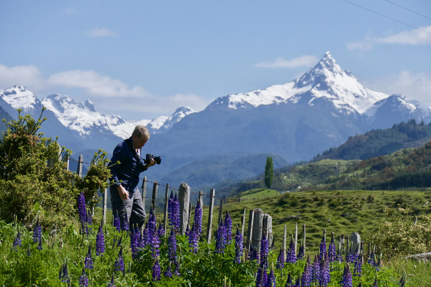 Taking photos of a volcano north of Coyhaique