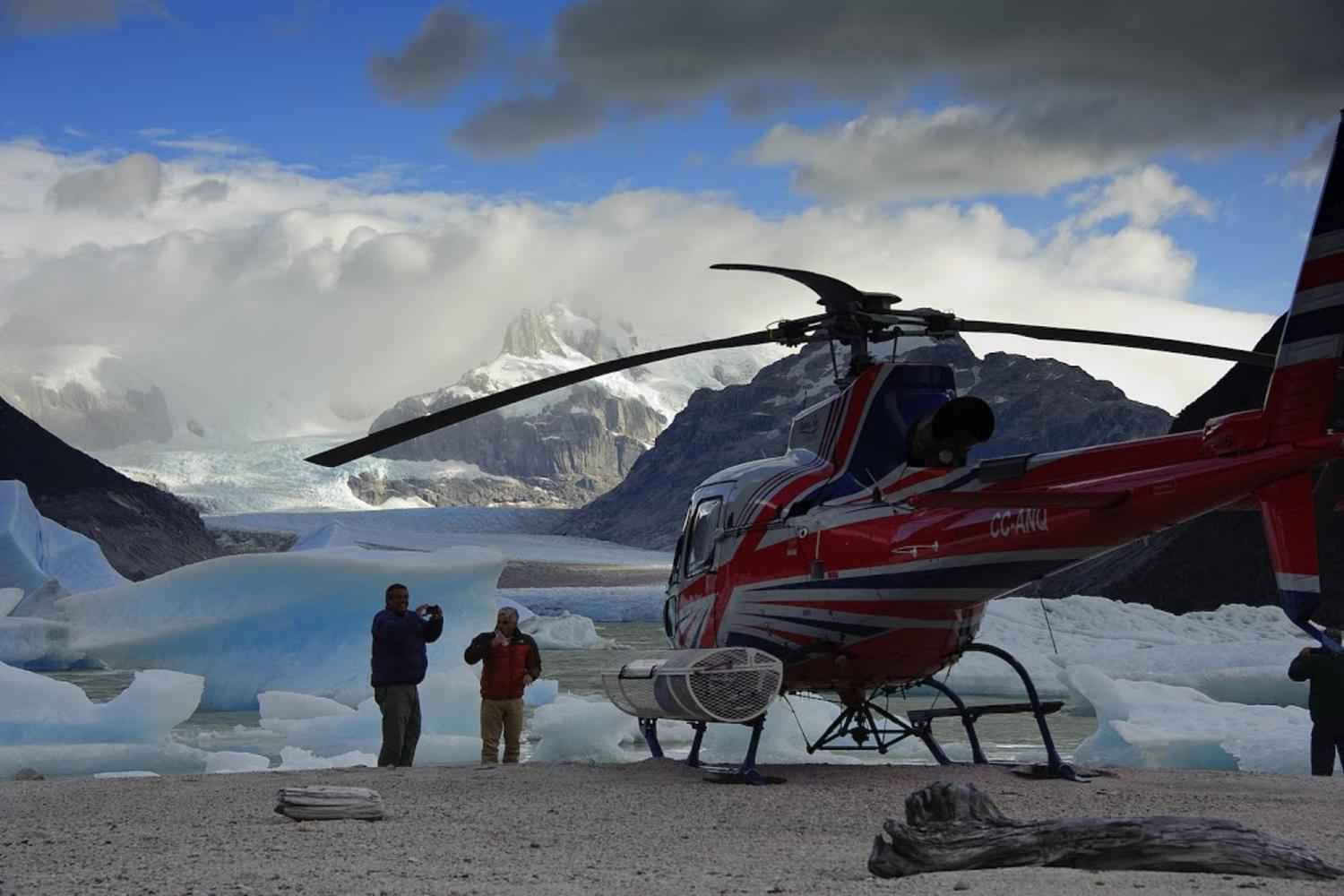 Helicopter over the northern Patagonian Icefield