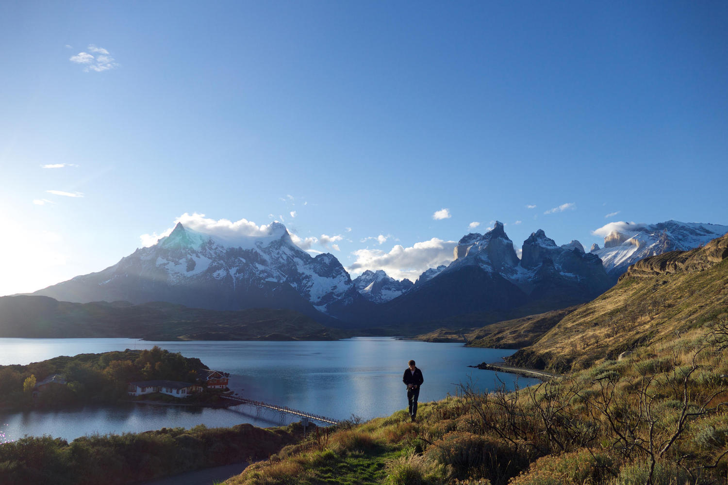 Looking out over Lago Pehoe, Torres del Paine