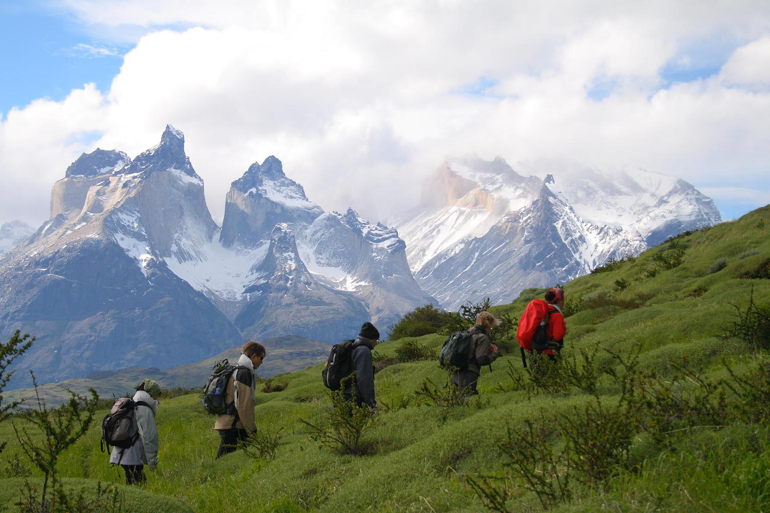 Hiking in the shadow of Paine's Cuernos (Horns)