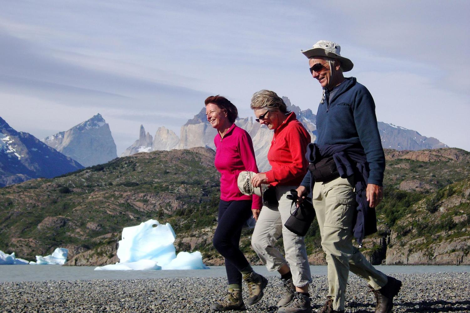 Walking along 'iceberg' beach inside Torres del Paine