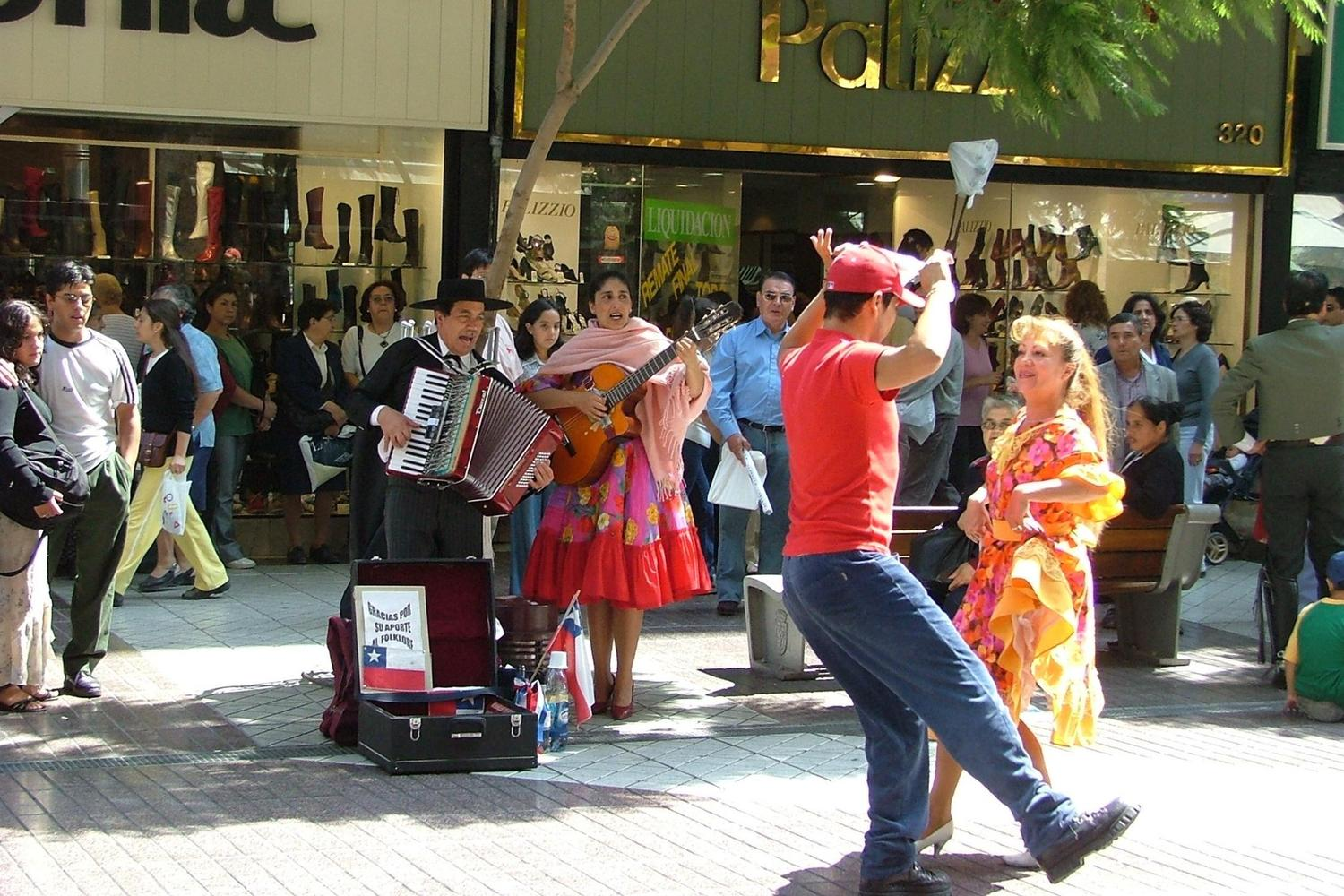Traditional cueca dance of Chile, performed on the streets of Santiago