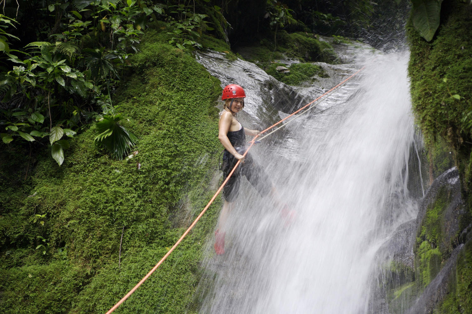 Rappelling jungle waterfalls at Selva Bananito on Costa Rica's Caribbean side