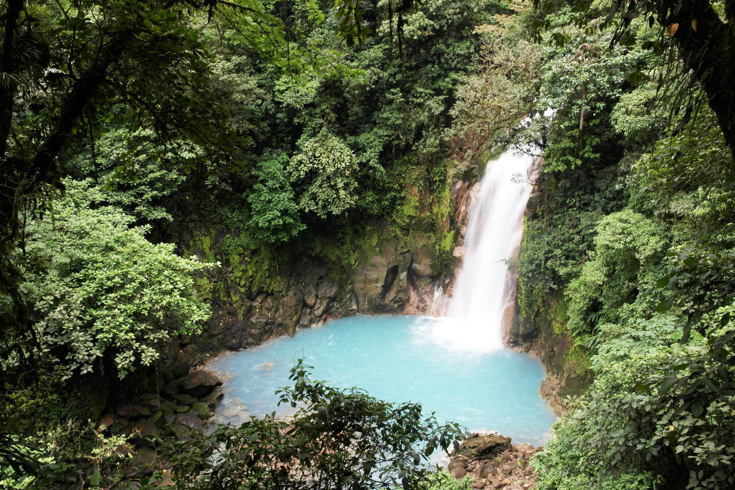 Rio Celeste waterfall in Volcano national park, Tenorio