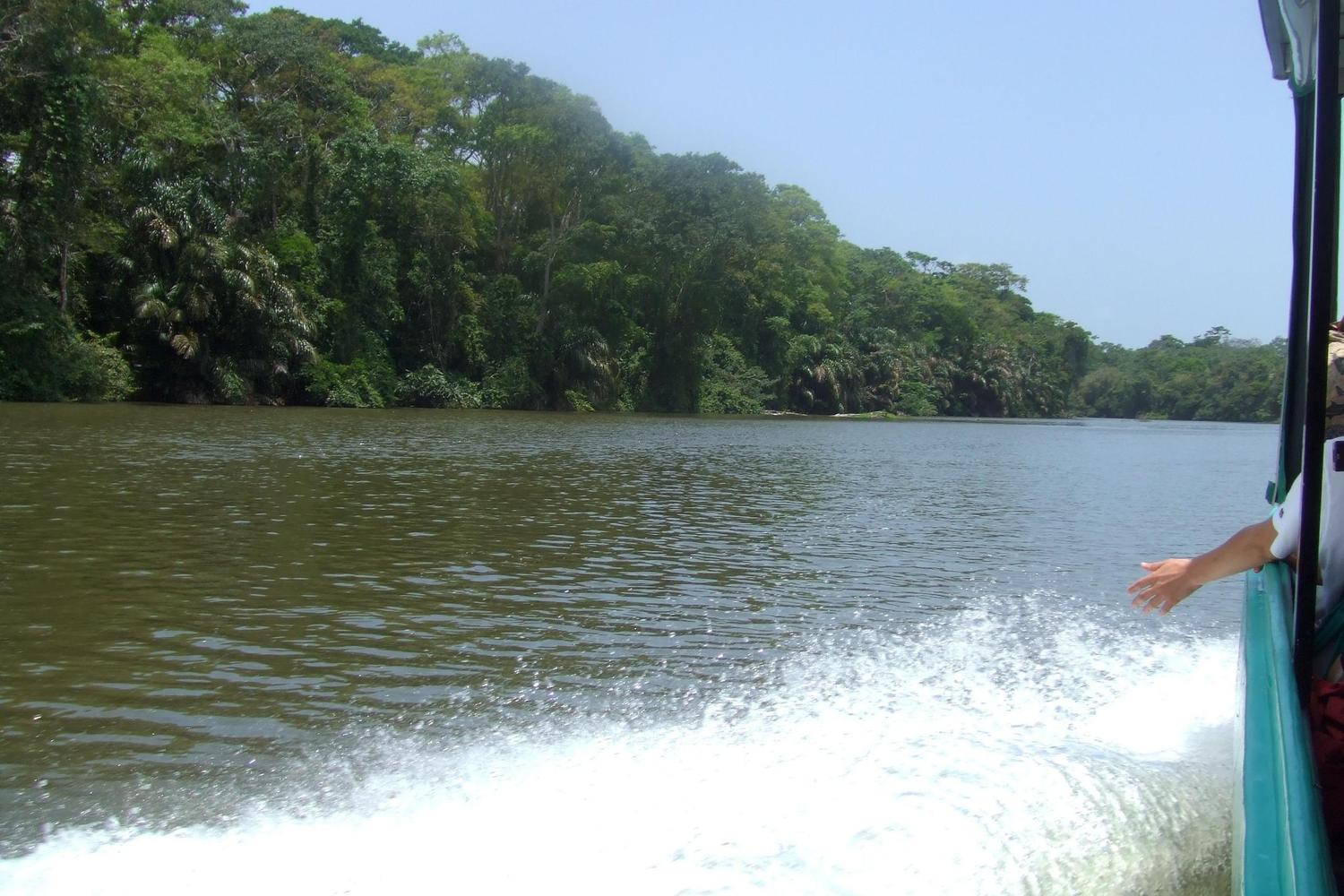 Travelling into Tortuguero by boat
