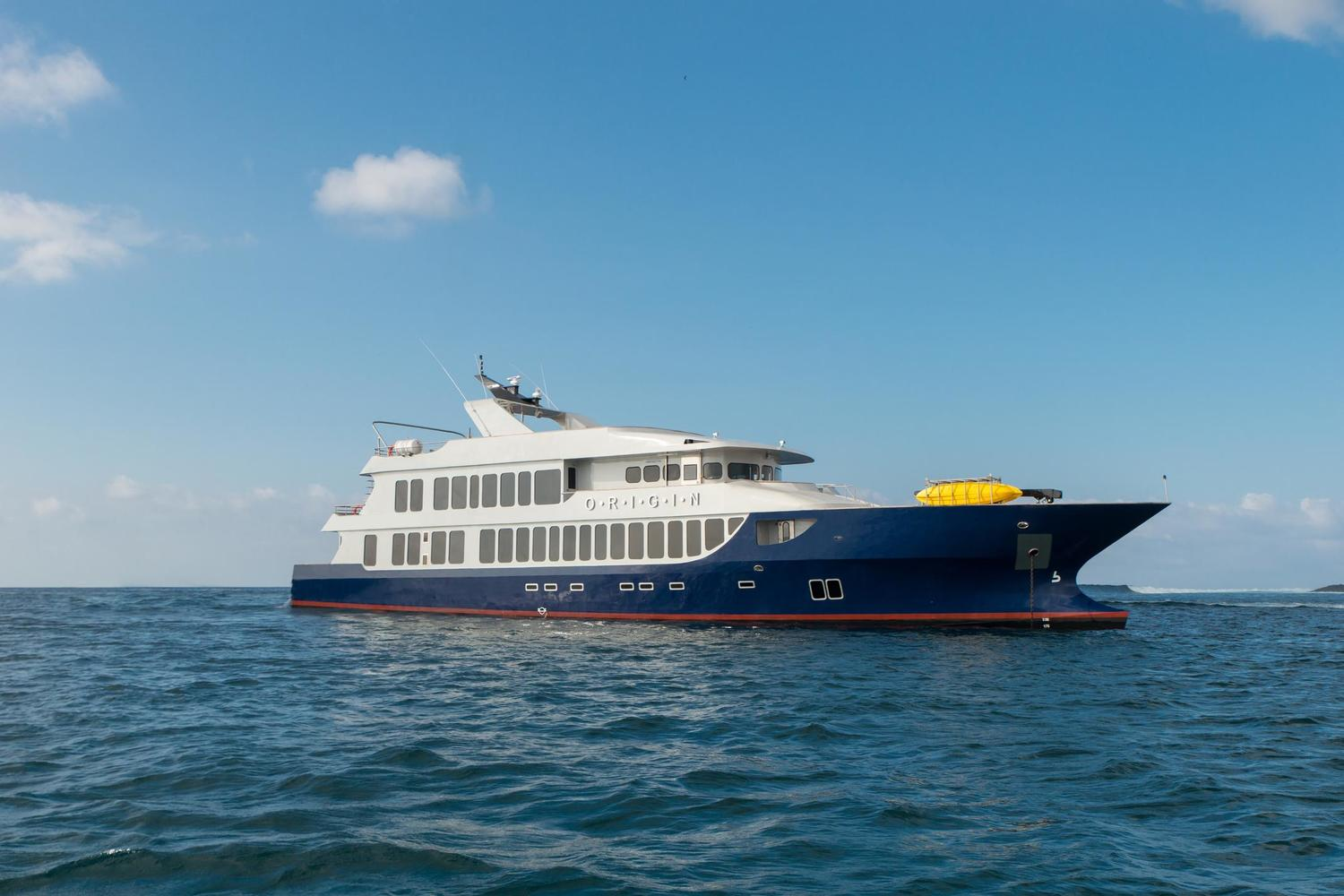 The M/V Origin is one of the most distinctive yachts in Galapagos