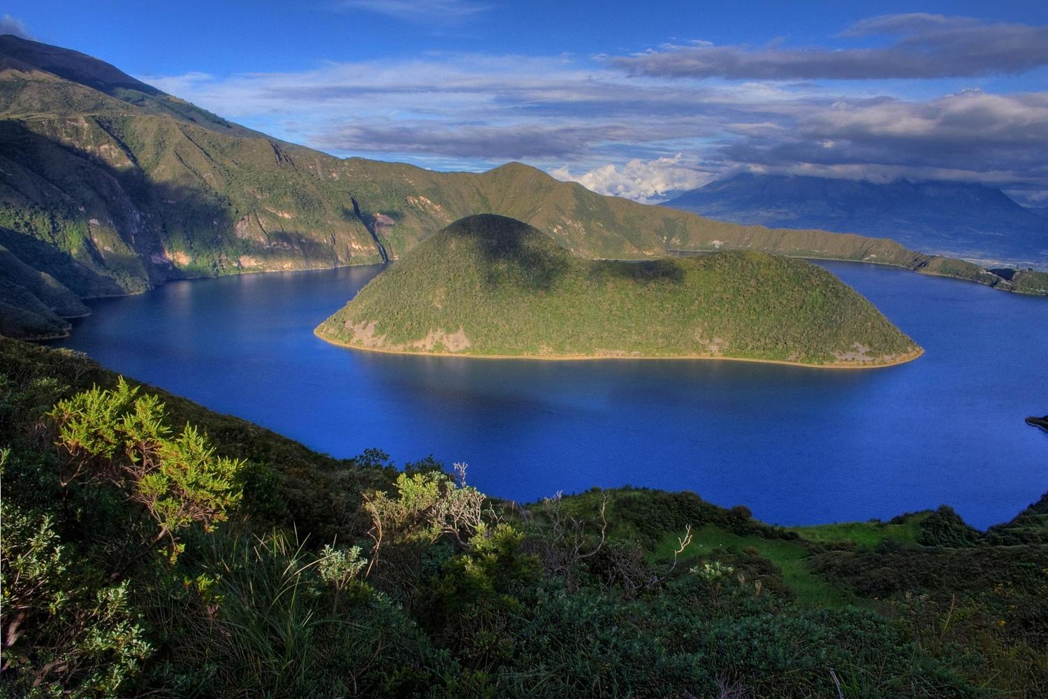 The beautiful Cuicocha Lake in the Ecuadorian Andes
