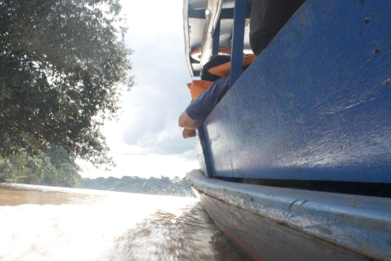 Travelling along the Tambopata River in the Peruvian Amazon
