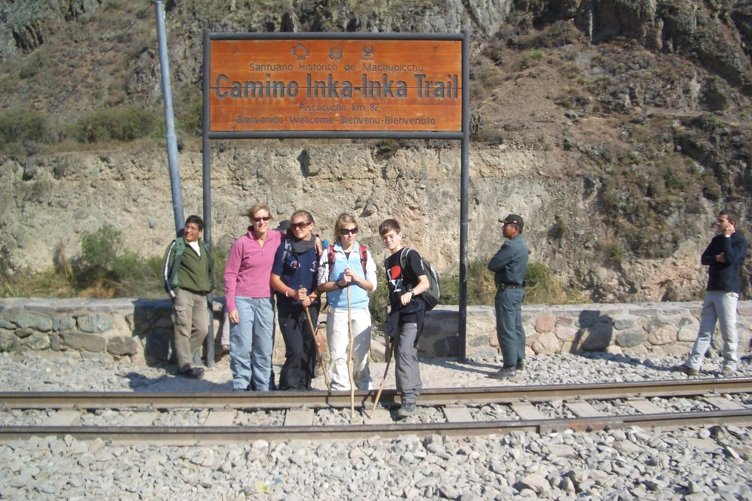 Family starting the Inca Trail