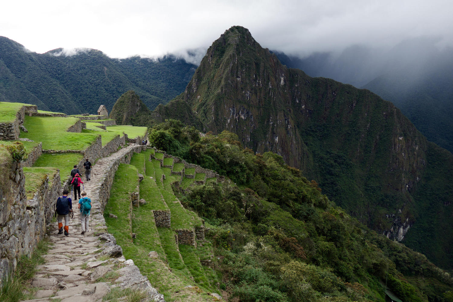 The Inca Trail ends with a walk down to Machu Picchu from the Sun Gate