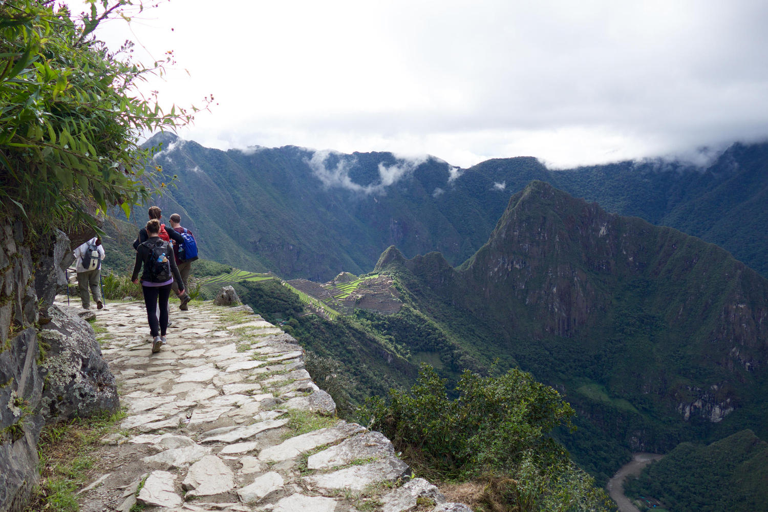 Along the trail from the Sun Gate to Machu Picchu