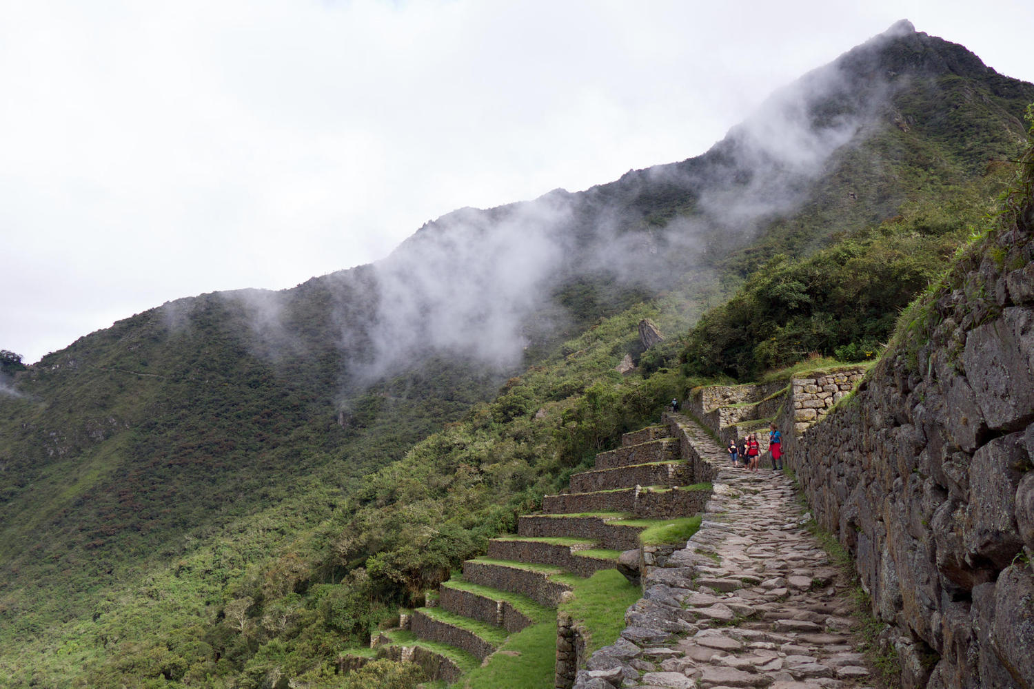 Walking down the trail from the Sun Gate at Machu Picchu