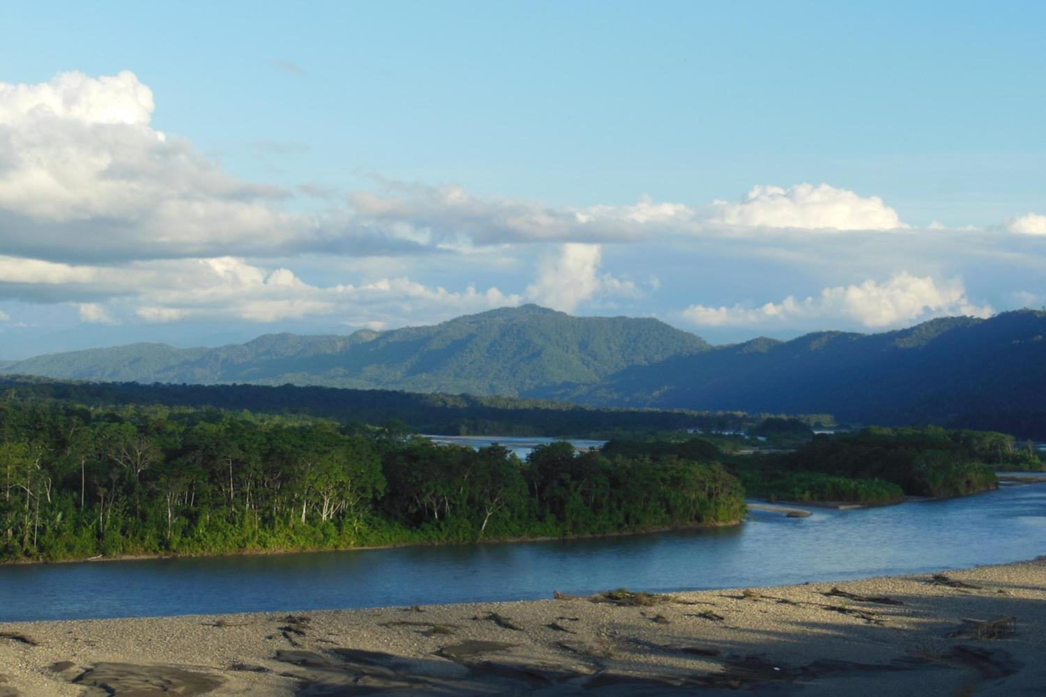 Beautiful views of the Alto Madre de Dios river and the Andean foothills, taken from the Manu Learning Center