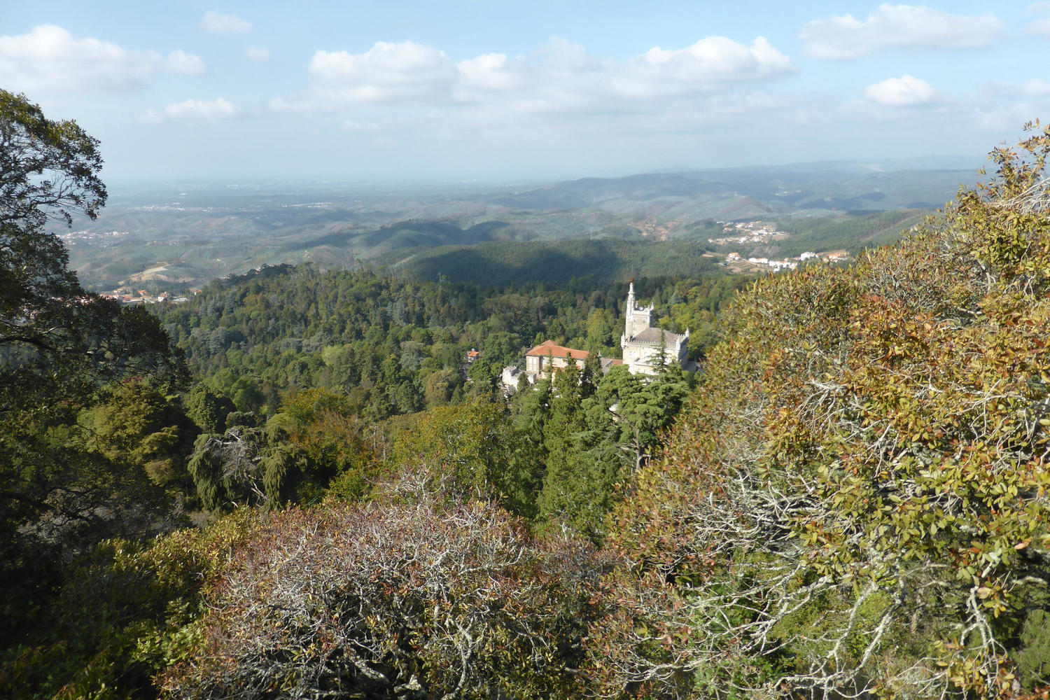 Looking down on the Bussaco Palace from the Cruz Alta viewpoint