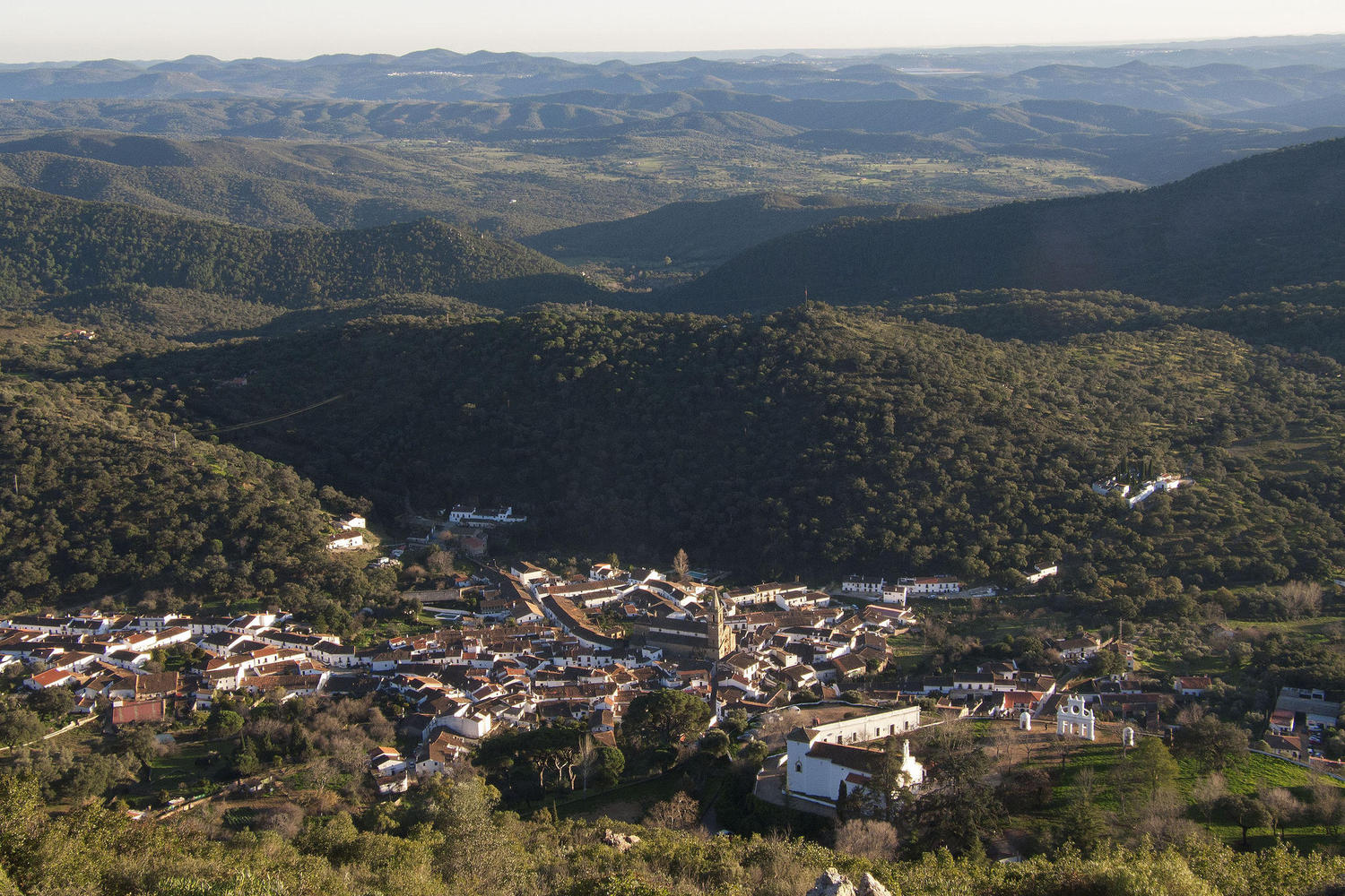 Looking down into Alajar from the top of Arias Montano peak, Aracena