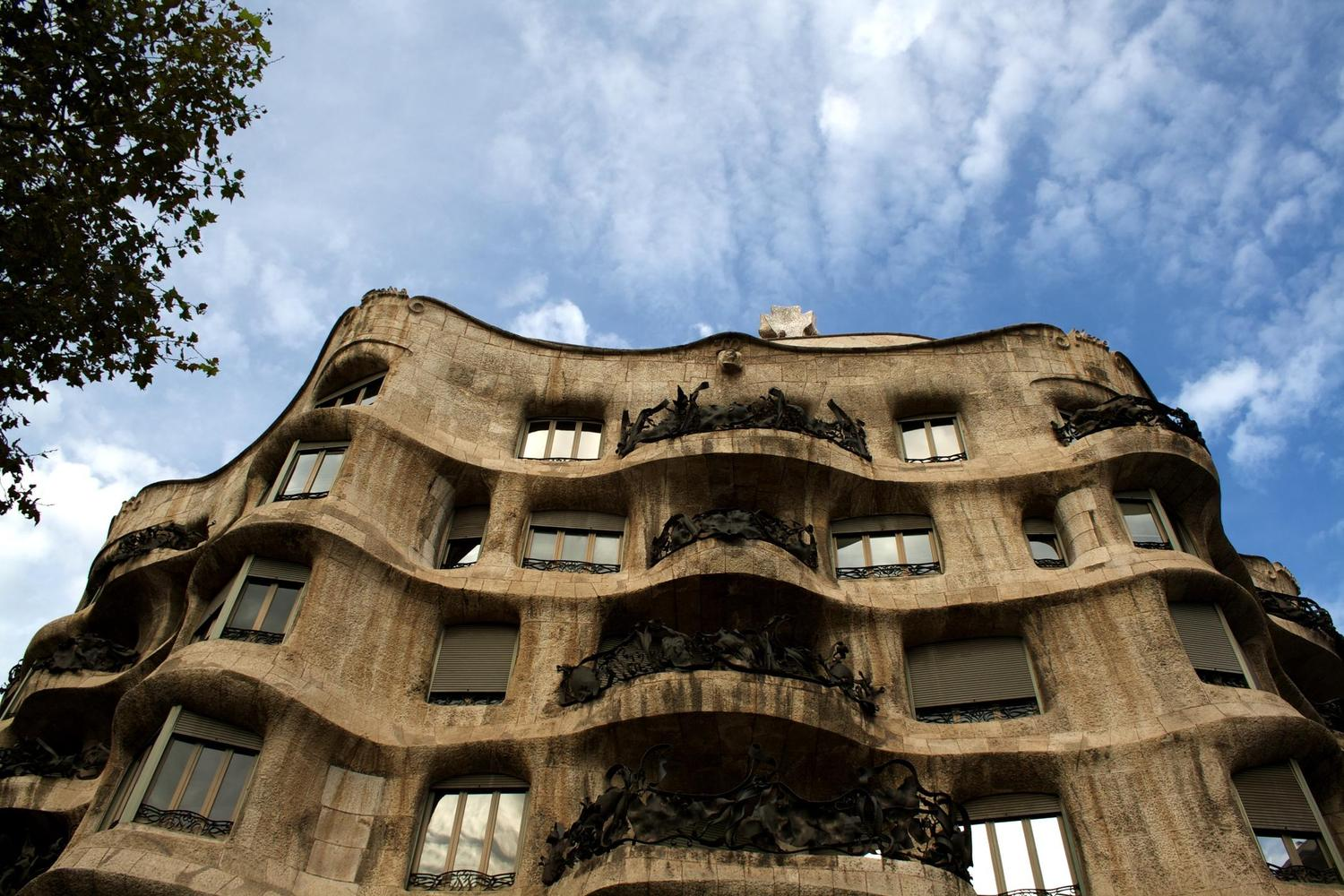The facade of Gaudí's Pedrera building in Barcelona