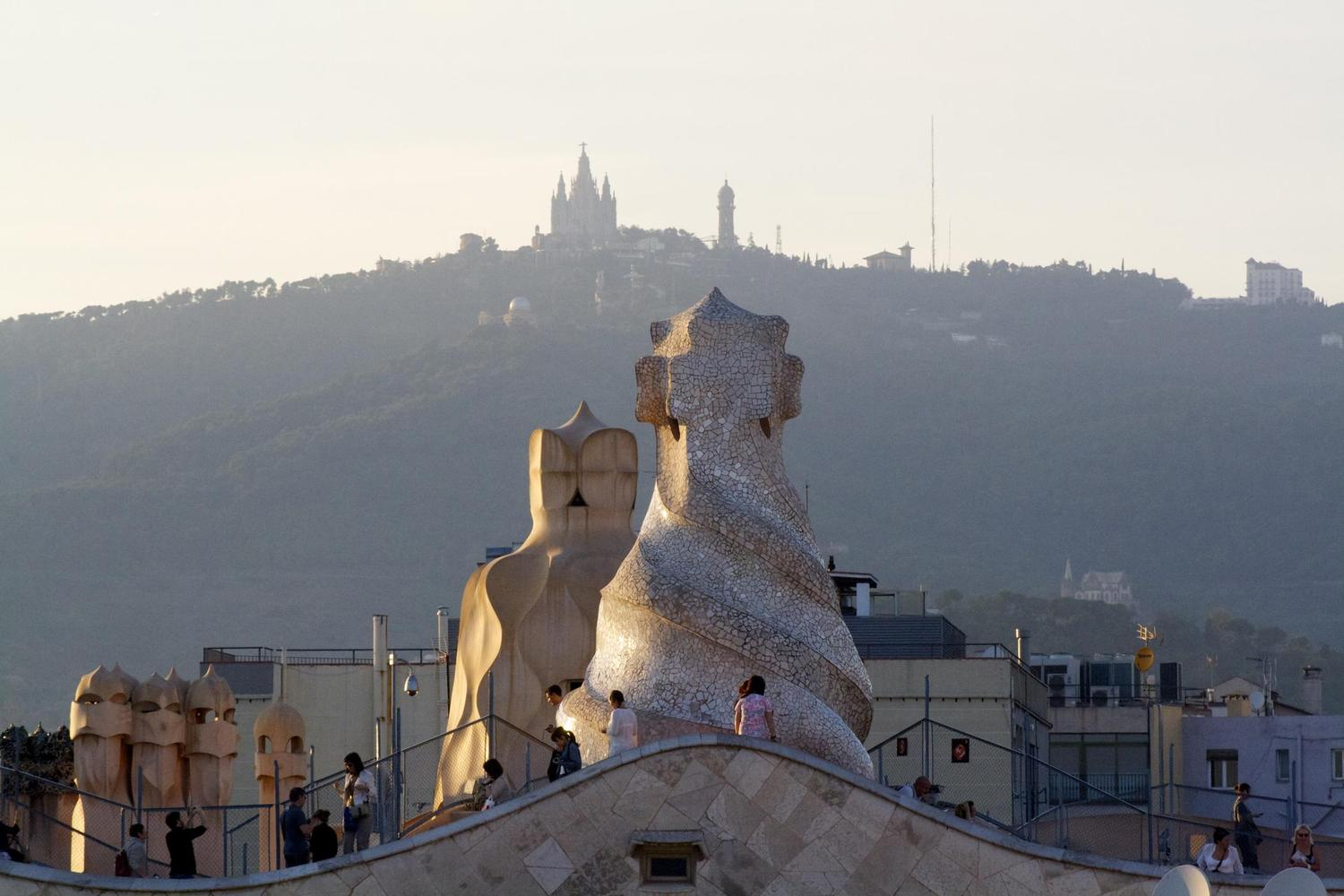 Views across the Pedrera to Tibidabo hill, Barcelona