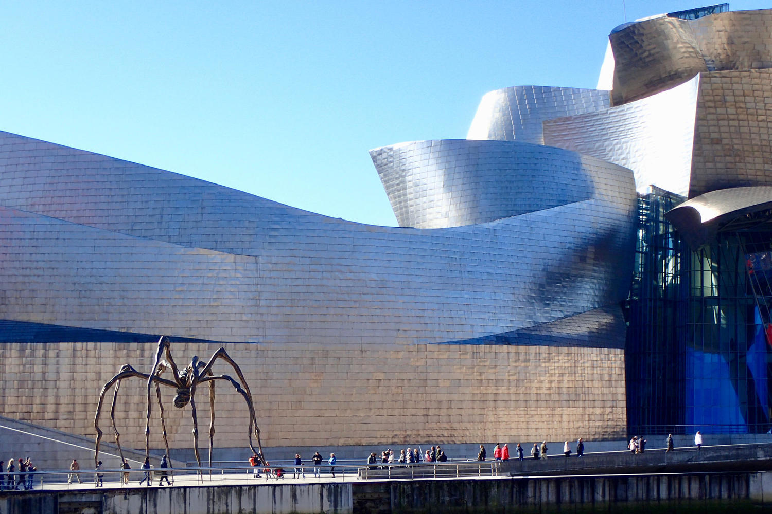The famous spider sculpture outside of the Guggenheim, Bilbao