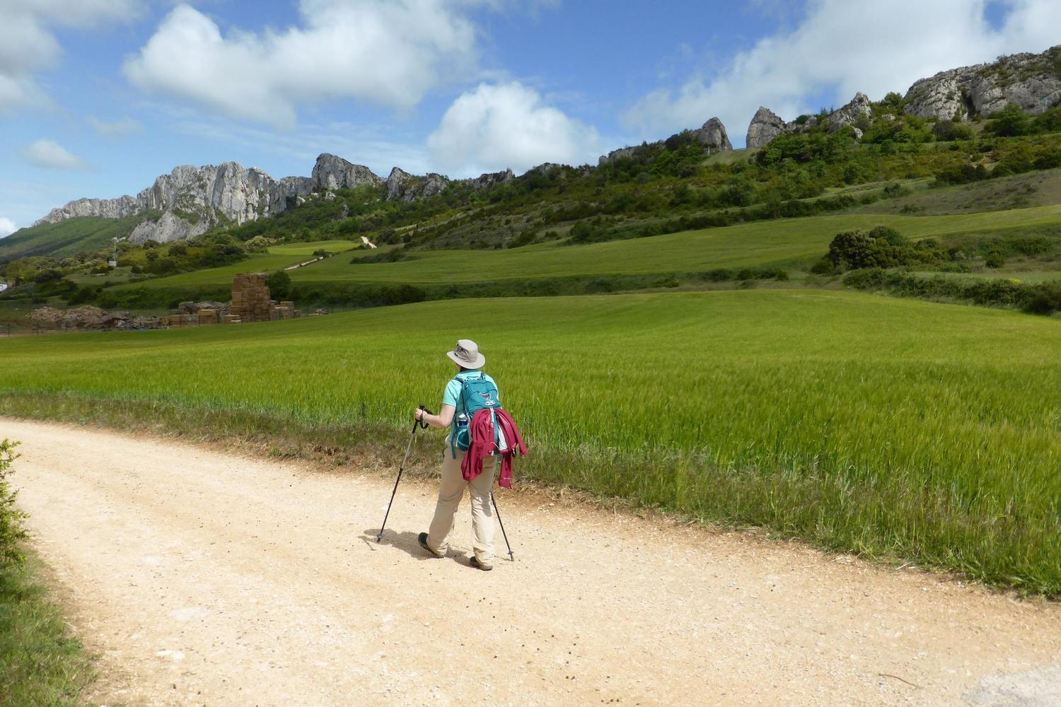 Walking on good tracks with mountain backdrops through Navarra
