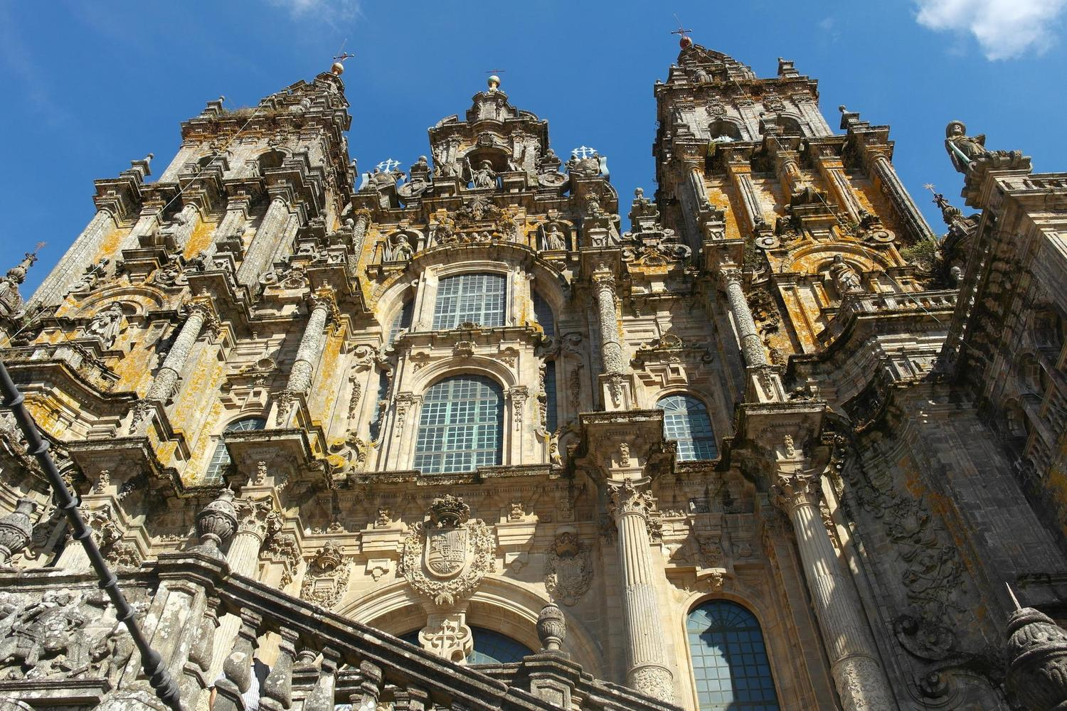 The facade of the dramatic cathedral of Santiago