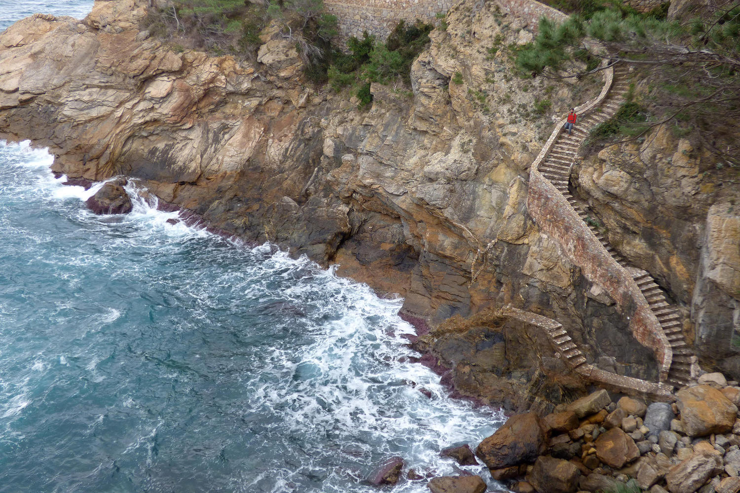 Stairway in the cliffs of Costa Brava