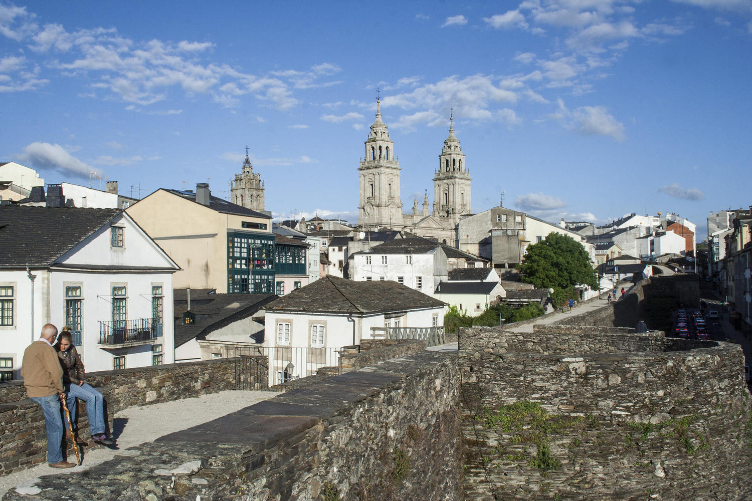 The Roman wall of Lugo is perfectly preserved.