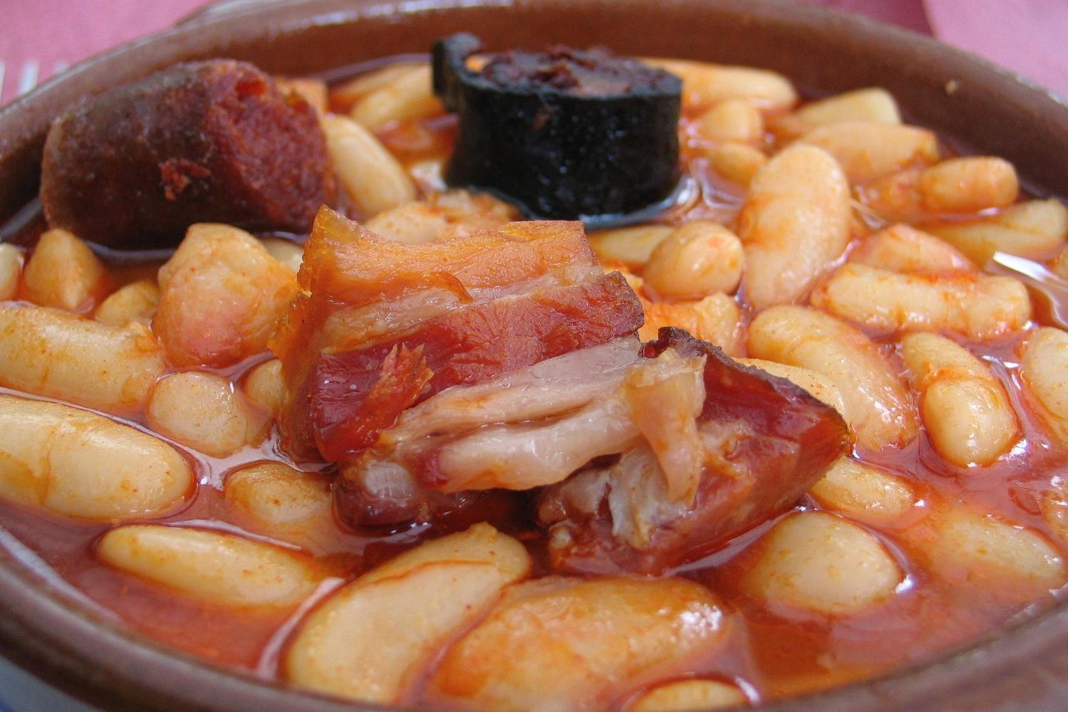 Fabada, traditional Asturian mountain stew common in the Picos de Europa