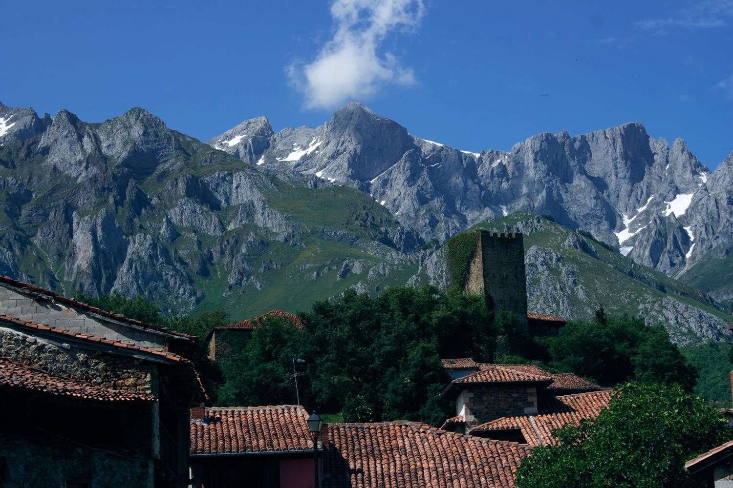 The village of Mogrovejo in the shadow of the high Picos de Europa