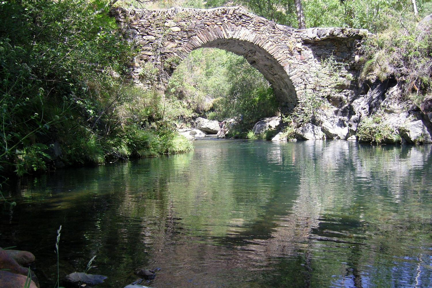 Medieval bridge in the lower Pallars Valley, Pyrenees