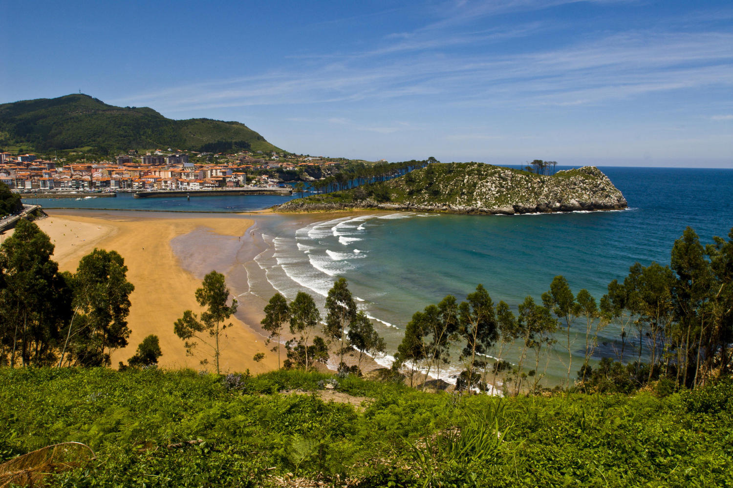 The beach and village of Lekeitio, Vizcaya