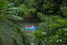 Costa-rica-pacuare-river-rafting-view-of-raft-through-trees
